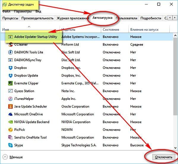 Удаление программ из автозагрузки через Диспетчер задач в Windows 10 | Интернет-профи