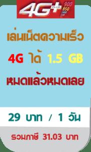 โปรโมชั่น เน็ตทรู มกราคม 2562 4g 29 บาท