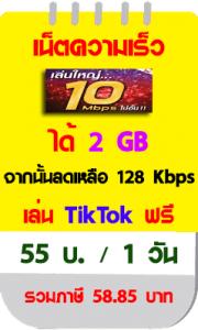 โปรเน็ตทรู 10 Mbps 1วัน ใหม่