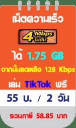 โปรเน็ตทรู 4 Mbps 2 วัน