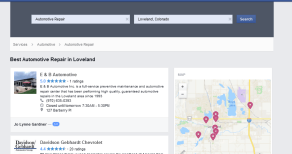 Facebook search automotive repair
