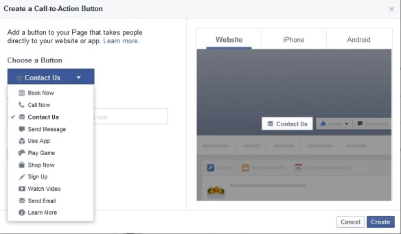 Facebook Add Action Button
