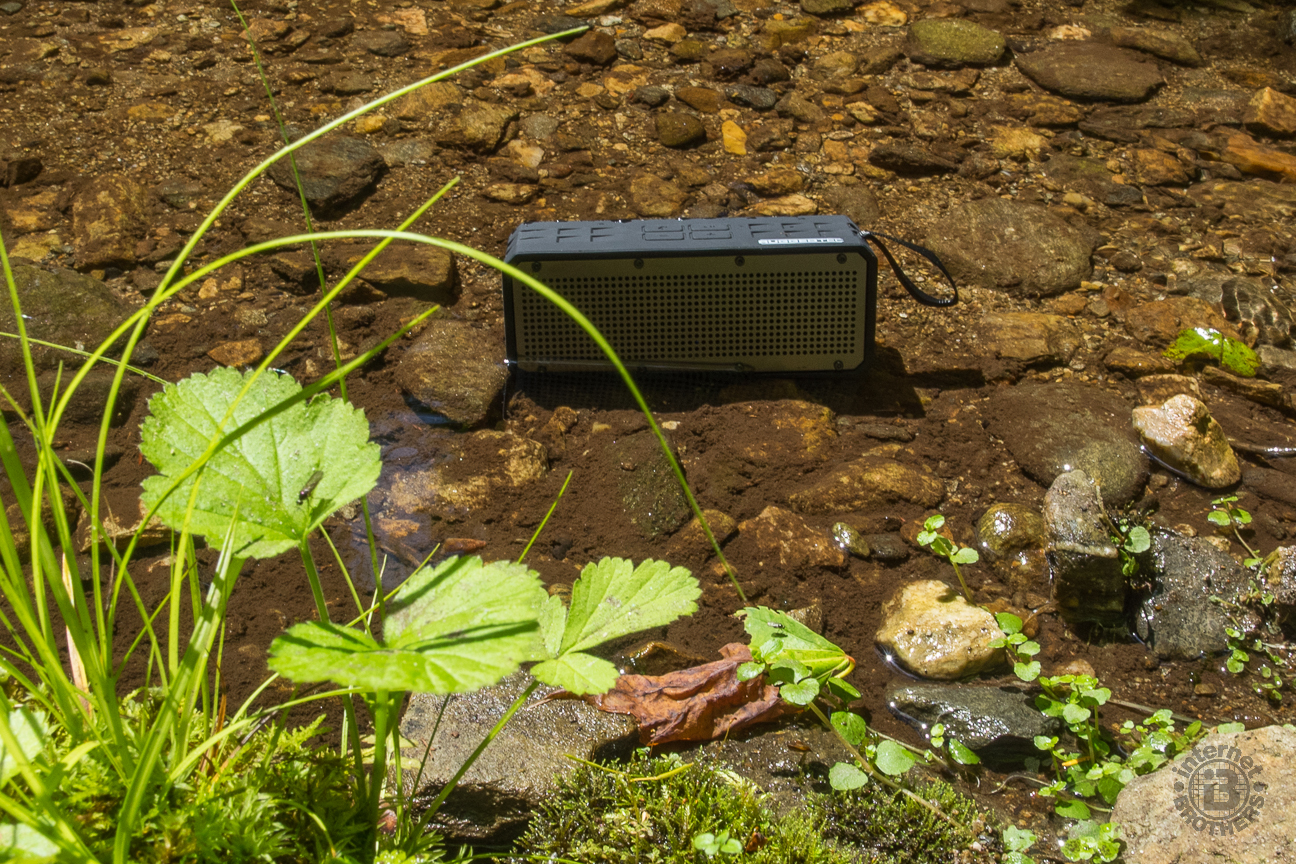 The RoqBloq plays music while sitting in a creek.