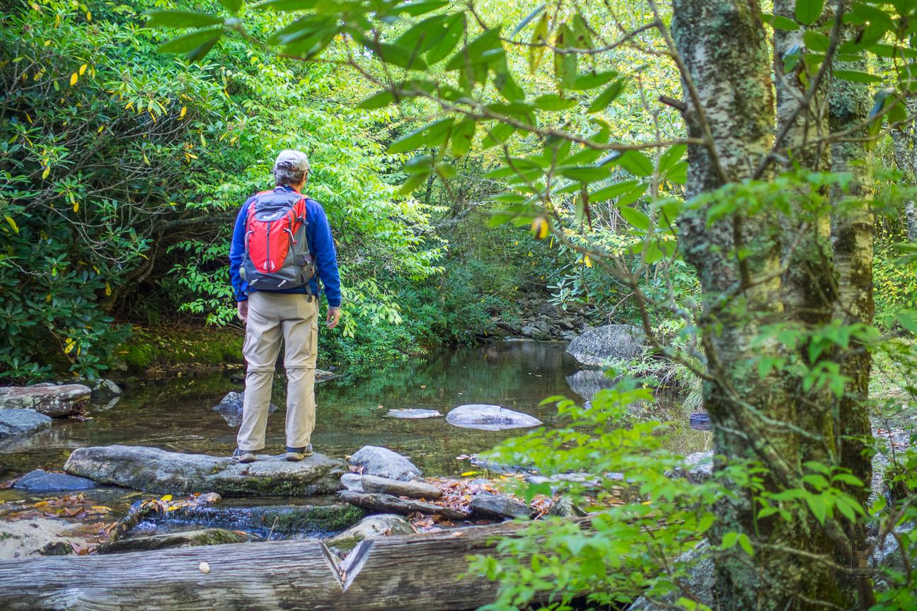 Crossing a Creek in Shining Rock Wilderness