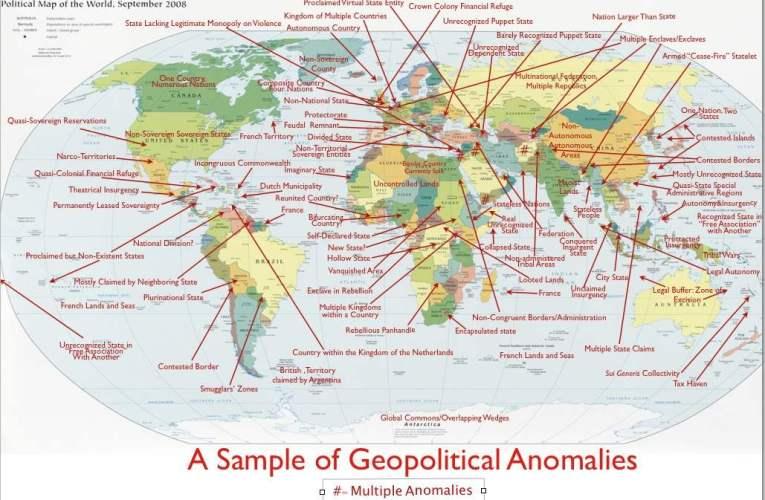 Kulcs a geopolitikai rendellenességek térképéhez (Key to Map of Geopolitical Anomalies)