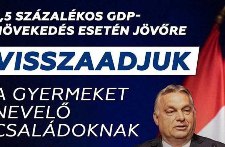 Orbán Viktor bejelentette: 5,5 százalékos gazdasági növekedés mellett visszaadják a gyermekes családoknak az idén befizetett adót 📺