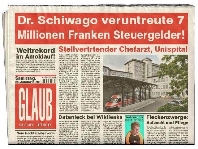 ZTreun und Glauben: Zeitungsbericht Dr. Schiwago veruntreute 7 Millionen Franken Steuergelder