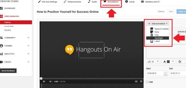 Edit Video >> Annotations >> Spotlight Option