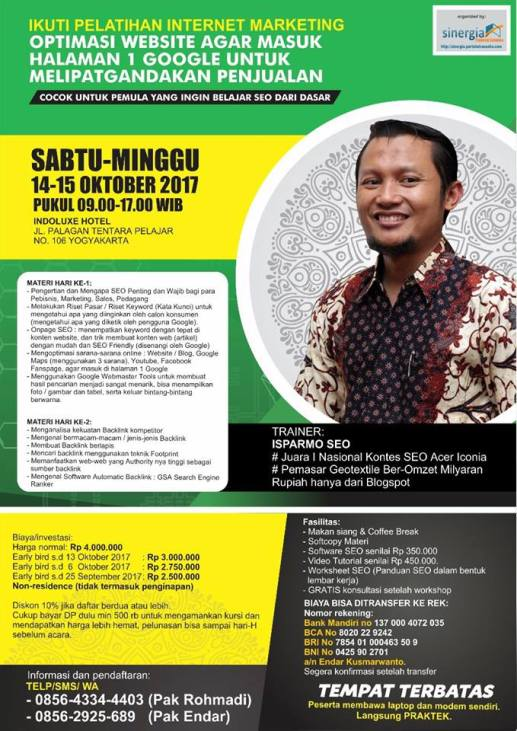 Pelatihan Digital Marketing di Jogja Oktober 2017