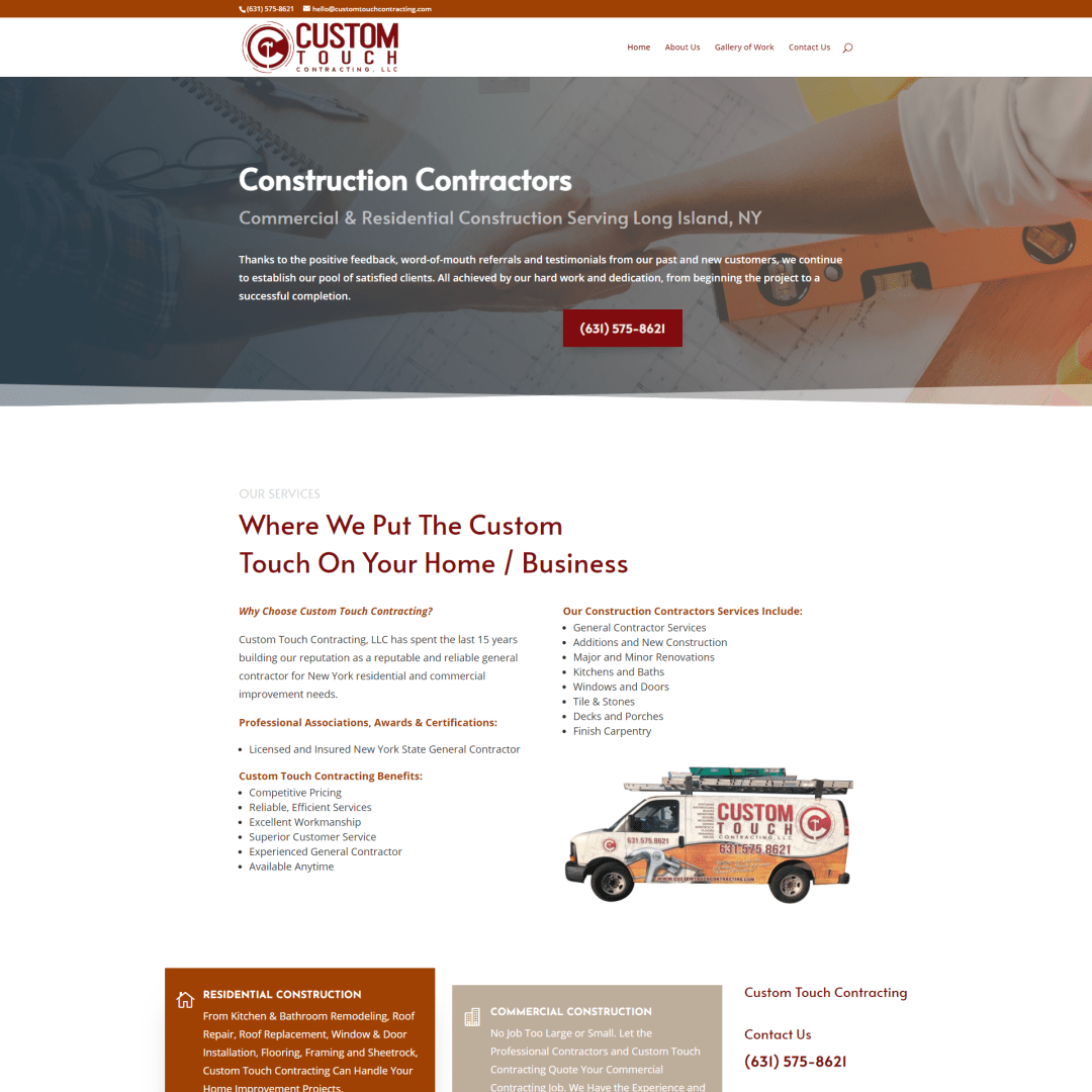 Custom Touch Contacting NY Website Design and Development