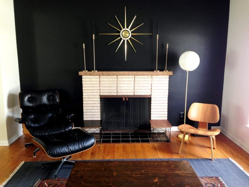 living room black accent wall