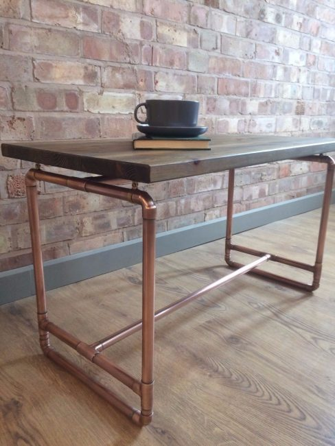 table made of copper pipe