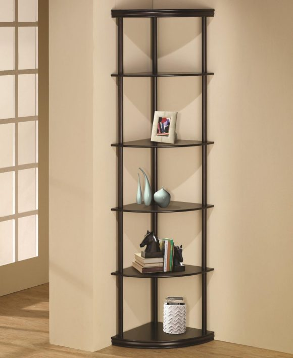 Black-Corner-Shelf-Unit-With-Glass-And-Metal
