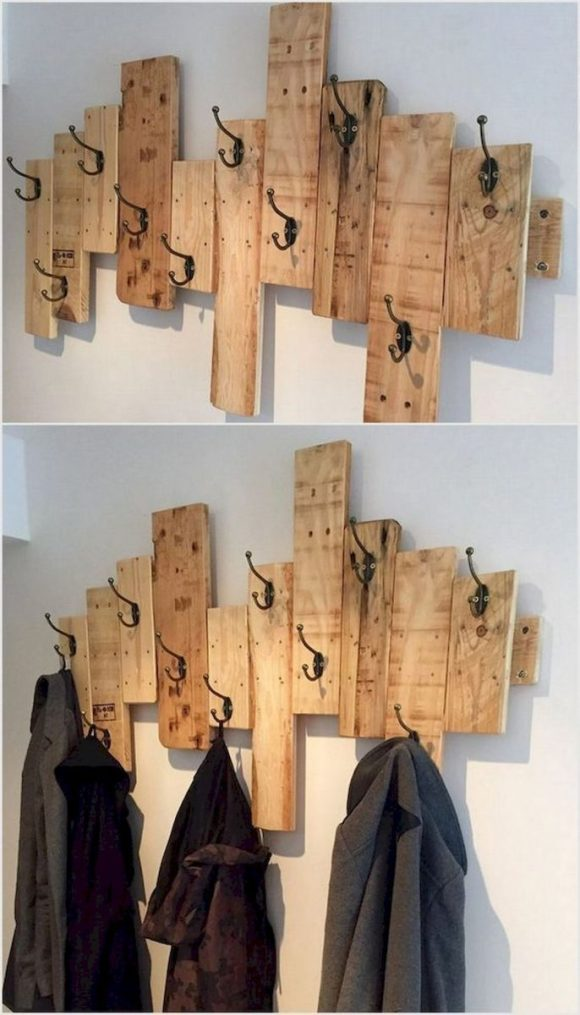 Reclaimed Wood Coat Rack With Shelf Wall Mounted