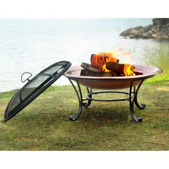 Copper Bowl Metal Fire Pit with Stand