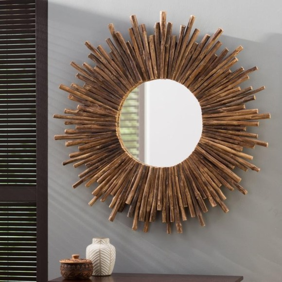 Sunburst Mirror from Cylindrical Rural Wood