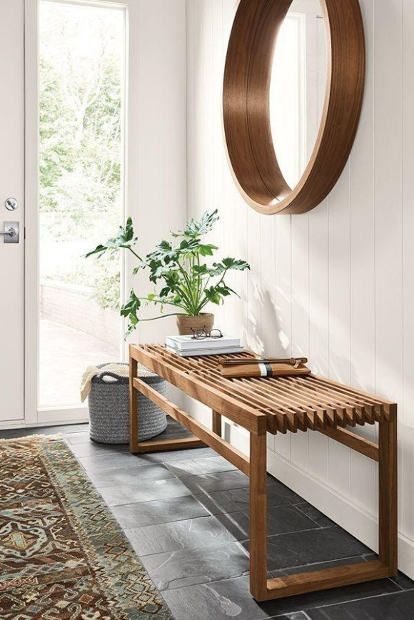 Big Round Wooden Entryway Mirror for Earthy Vibes