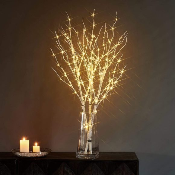 Living Room Lamps with Natural Dried Twigs