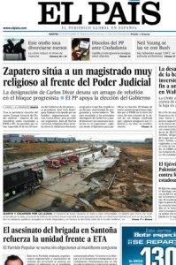 Portada de El País de 23 de septiembre de 2008