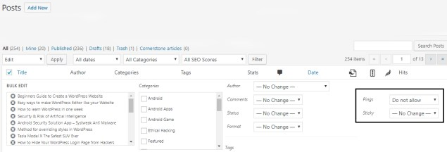 There in the bulk edit box, you shall look for the pings options and convert to 'Do not allow