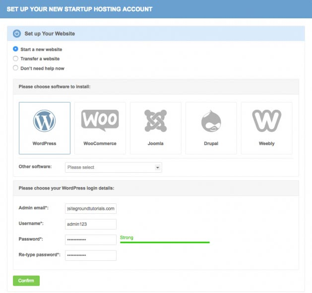instaling wordpress on siteground hosting