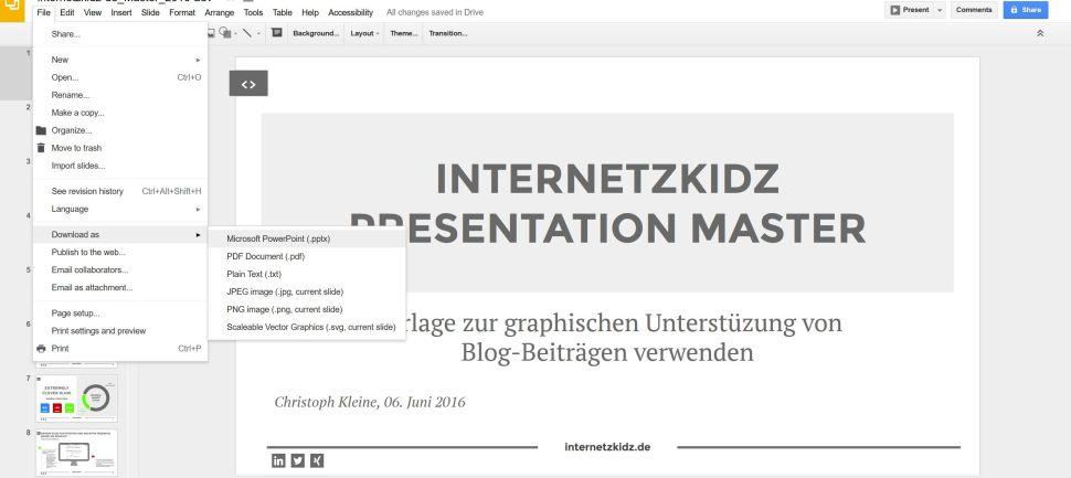 Google Slides speichern als Powerpoint