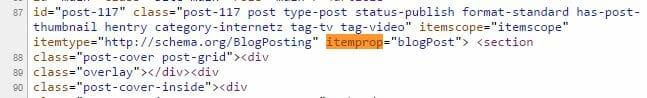 SEO Entity Optimierung Beispiel: itemprop Attribut