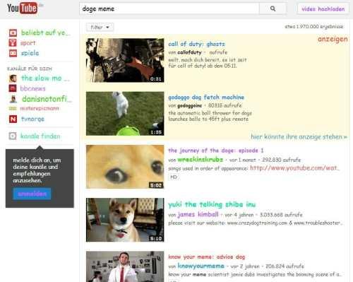 Doge Meme Suchergebnis auf youtube