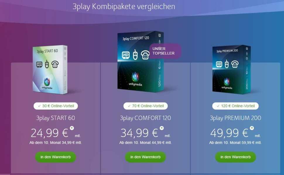 Unity Media Paradox of Choice 3 Triple Play Tarife.