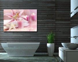 Stampa su tela - candele e fiori rosa
