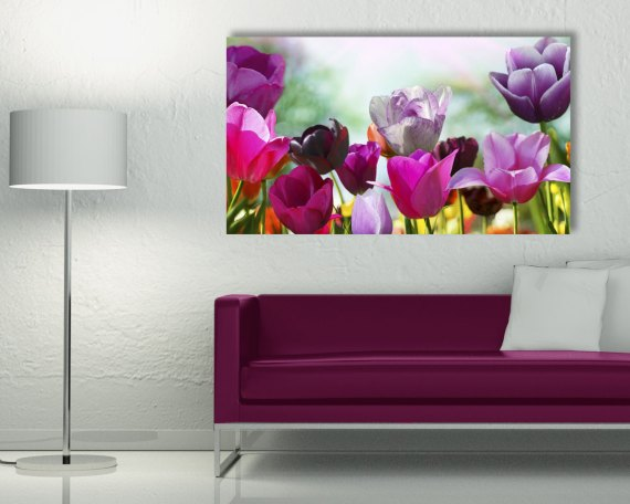 Stampa su tela - variopinti tulipani in un campo