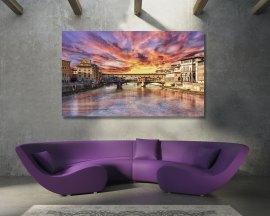 Stampa su tela - tramonto sul ponte vecchio