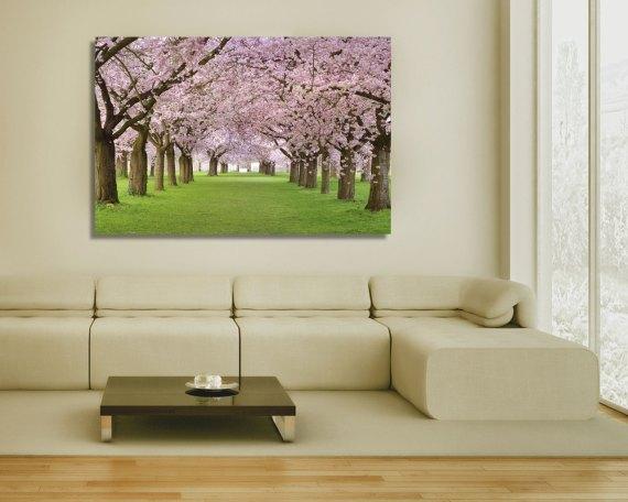 stampa su tela-viale tra i ciliegi in fiore