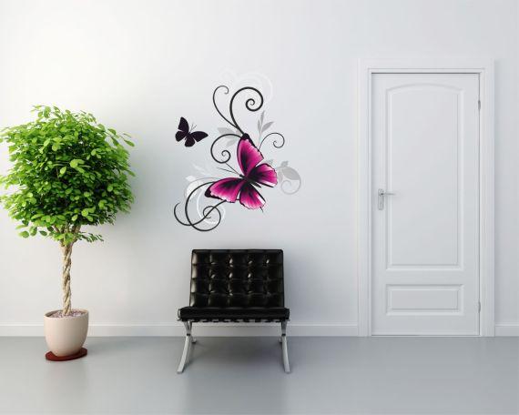 Adesivo murale-beautiful pink fly