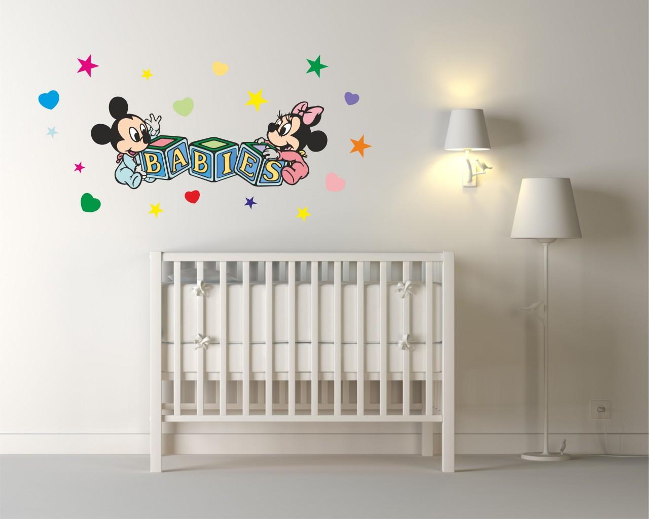 Adesivi Murali Minnie E Topolino.Adesivo Da Parete Disney Baby Topolino E Minnie Infanzia Adesivo Murale