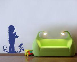 adesivo murale-bimbo su fiore