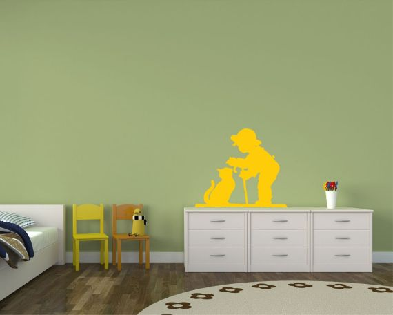 adesivo murale-bimbo con gattino