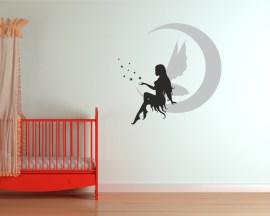 adesivo murale-fata su luna