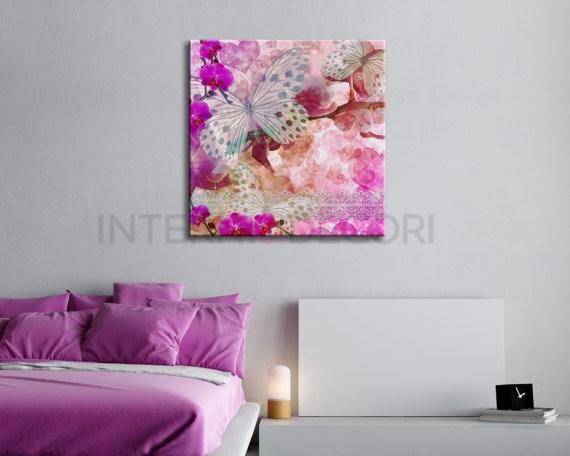 Farfalle con orchidee-stampa su tela