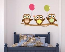 Adesivo murale-gufi con palloncini
