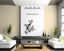 adesivo murale-uccello su rami fioriti