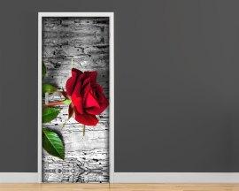 adesivo per porte-una rosa rossa