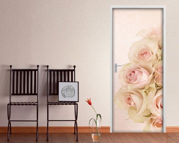 Adesivo per porte-piccole rose rosa