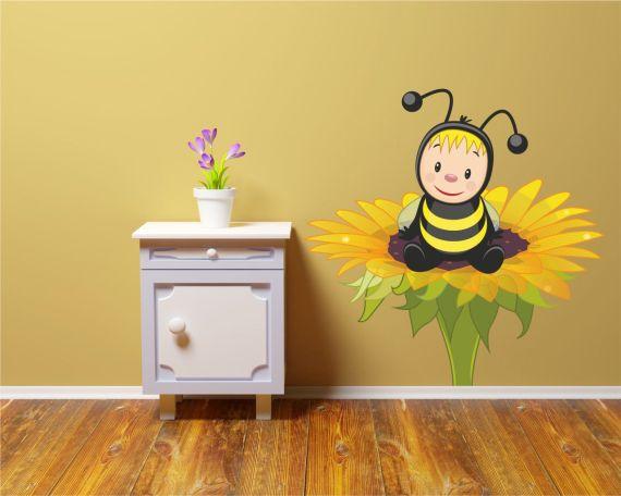 Adesivo murale-tenera ape su un fiore