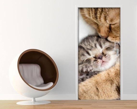 Adesivo per porte-dolce mamma gatta