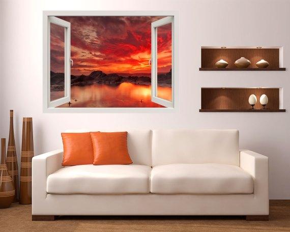 Finestra adesiva-crepuscolo sul lago