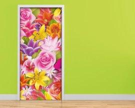 Adesivo per porte-tra fiori colorati