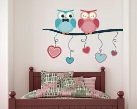 Adesivo murale-gufi innamorati