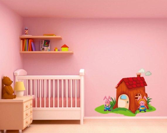 Adesivo murale-la casa dei coniglietti