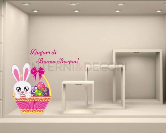 Adesivo per vetrina Pasqua-cestino con uova colorate